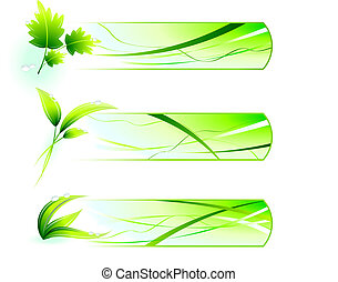 Green Nature Icons  with Banners