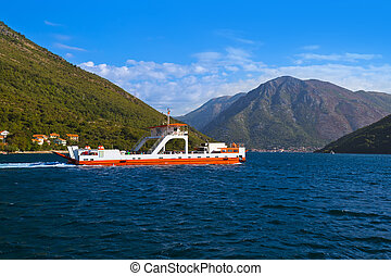 Ferry in Boka Kotor bay - Montenegro - nature and...