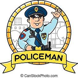 Funny policeman Children vector illustration - Children...
