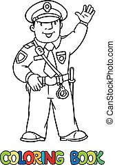 Funny policeman Coloring book - Coloring picture or coloring...