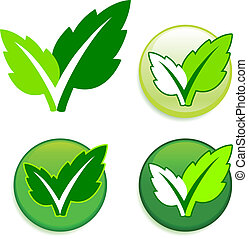 Leaves on Buttons Original Vector Illustration Green Nature...
