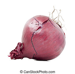 One red onion isolated - Red onion bulb isolated on white...