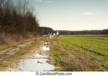 Muddy, field road and a field of winter wheat in March,...