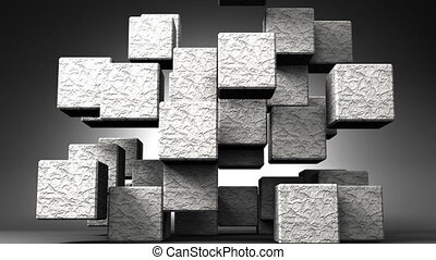 Stone Cube Abstract On Black Background. Abstract 3D render...