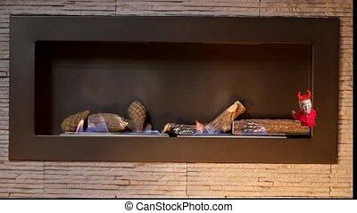 Little devil in interior fireplace - Little devil in modern...
