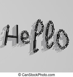 Hello on white background