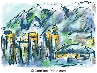 vancouver downtown skyline on abstract multicolor background