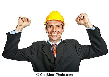 winner - An engineer with yellow hat, isolated on white