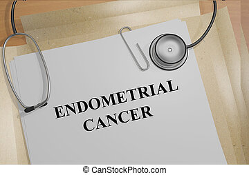 Endometrial Cancer concept - Render illustration of...