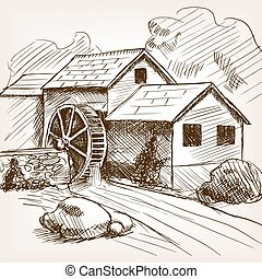 Water mill hand drawn sketch vector - Water mill sketch...