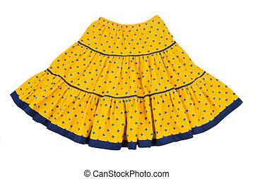 Yellow Flare Cotton Skirt - Yellow flare cotton skirt with...