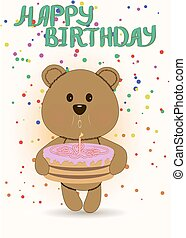 Happy birthday card with cute teddy