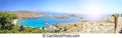 Lindos Beach Island - Overlooking the main beach at Lindos...