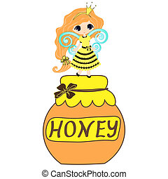fairytale sweetheart Princess bee, cartoon girl Vector cute...
