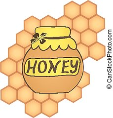 honey collection Organic product design. Vector cute hand drawing honey jar illustration on the background of honeycomb, Spa center design. icon, logo