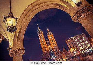 Cracow Mariacki Church. Main Square Cracow, Lesser Poland,...
