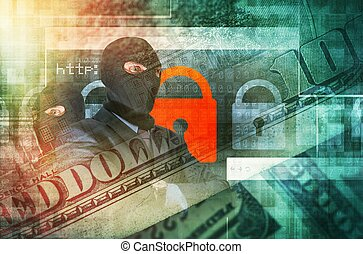 Cyber Crime Concept Illustration. Professional Hackers in...