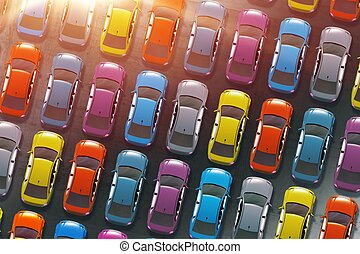 Colorful Cars Inventory. Dealership Cars in Stock 3D...