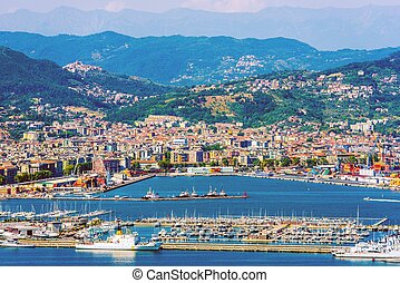 La Spezia Cityscape and the Gulf. La Spezia Italy Summer...