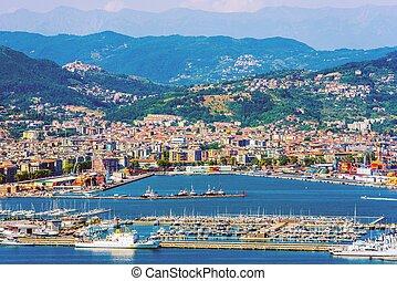 La Spezia Cityscape and the Gulf. La Spezia Italy Summer...