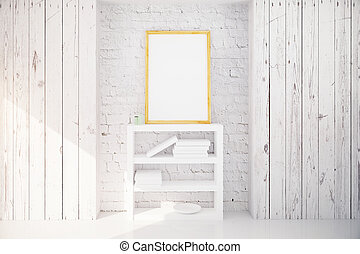 Picture frame and bookshelf in white wooden interior - Blank...