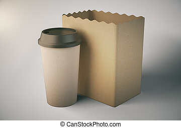Bag and cup on light background - Blank brown paper bag and...