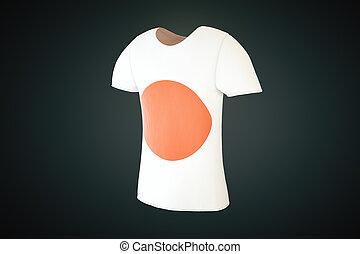 Tshirt, japoneses, bandeira, lado,