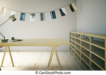 Wooden photo studio with pictures