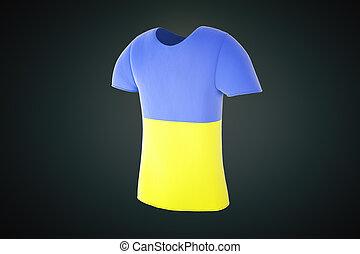 tshirt Ukrainian flag side - T-shirt with a Ukrainian flag...