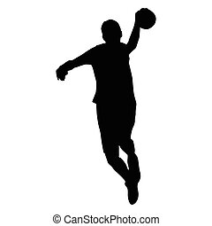 Handball player vector isolated silhouette