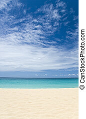 Caribbean Ocean with Big Sky - Tropical beach, ocean and big...