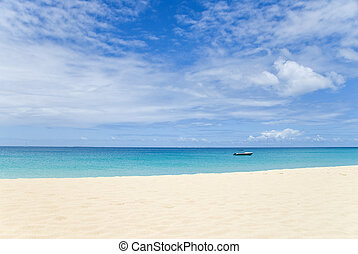 Caribbean Ocean with Big Sky - Tropical beach, boat, ocean...