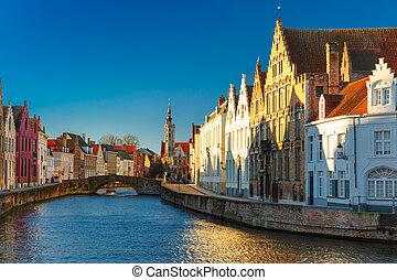 Canal Spiegelrei, Bruges, Belgium - Canal Spiegelrei, bridge...