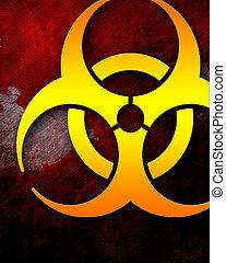 Bio hazard sign on a grunge background with some soft...