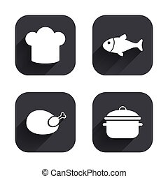 Chief hat, cooking pan icons. Fish and chicken. - Chief hat...