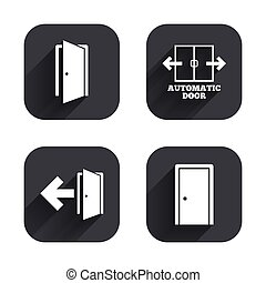 Doors signs Emergency exit with arrow symbol - Automatic...