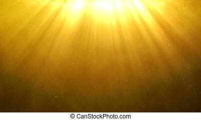 Golden background with holy light rays shining from above -...