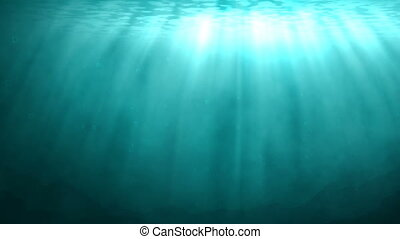 Blue underwater scene with rays of sunlight - Underwater...