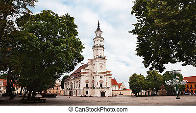 View of City Hall in old town Kaunas, Lithuania - KAUNAS,...