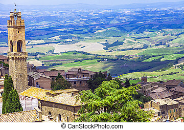 medieval towns of Tuscany-Montalcino with famous vineyards -...