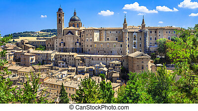 Landmarks of Italy. panoramic view of Urbino,Unesco site....