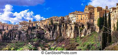 panorama of Cuenca - medieval town on rocks, Spain -...