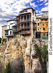 famous hanging houses over cliff in Cuenca Spain, UNESCO...
