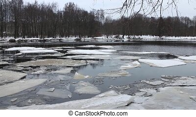 frozen river panorama - river winter landscape leafless...