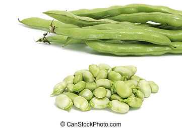 broad bean - some broad bean pods and some broad bens...