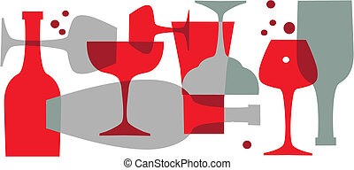 beverages, bottles and glasses - vector wallpaper background...