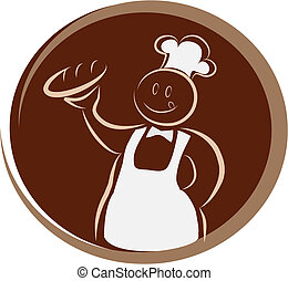 happy baker with fork and knife - menu background - happy...