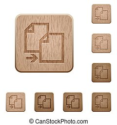 Copy wooden buttons - Set of carved wooden copy buttons in 8...