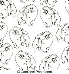 Seamless vector pattern with dogs. - Black and white dog...