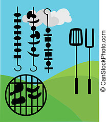 picnic and BBQ outside - picnic and BBQ graphic elements